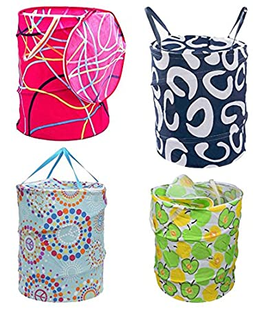 Multipurpose Foldable And Collapsible Pop-Up Round Laundry Bag Basket With Zippered Lid(14X14X23-Inches, Random Colour)