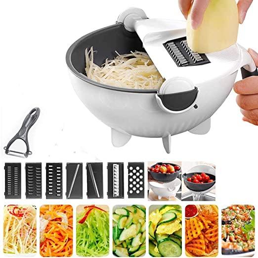Magic Rotate Vegetable Cutter, Slicer ,Draining Basket Drain Bowl Sets